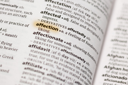 The word or phrase Affection in a dictionary highlighted with marker. 写真素材