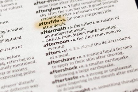 The word or phrase Afterlife in a dictionary highlighted with marker. Фото со стока - 112583892