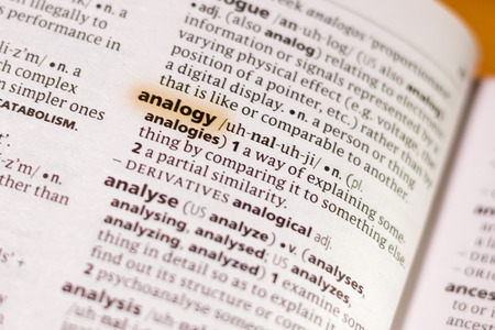 The word or phrase Analogy in a dictionary highlighted with marker.