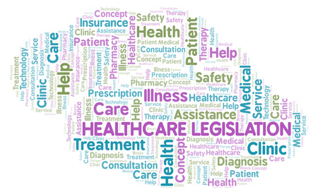 Healthcare Legislation word cloud. Wordcloud made with text only. Stok Fotoğraf