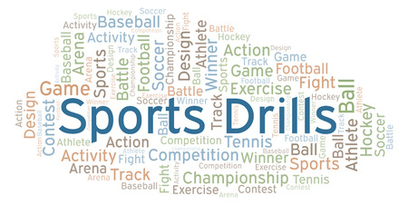 Sports Drills word cloud. Made with text only. Foto de archivo - 112774270