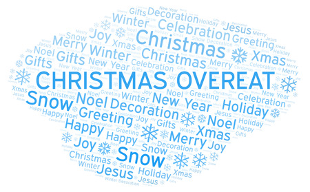 Christmas Overeat word cloud. Wordcloud made with text only. Stock Photo
