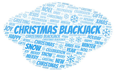 Christmas Blackjack word cloud. Wordcloud made with text only.