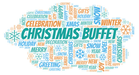 Christmas Buffet word cloud. Wordcloud made with text only.