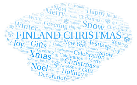 Finland Christmas word cloud. Wordcloud made with text only. Stock Photo