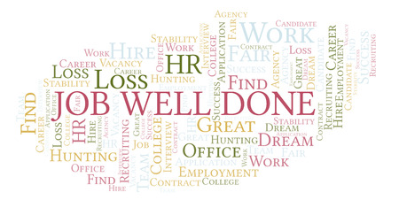 Job Well Done word cloud. Wordcloud made with text only. Imagens