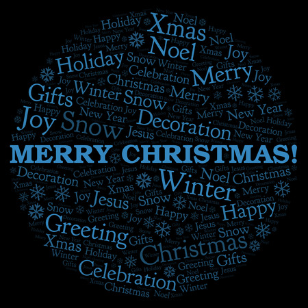 Merry Christmas! word cloud. Wordcloud made with text only.