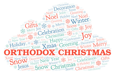 Orthodox Christmas word cloud. Wordcloud made with text only.