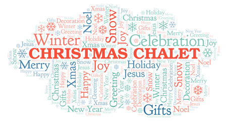 Christmas Chalet word cloud. Wordcloud made with text only.