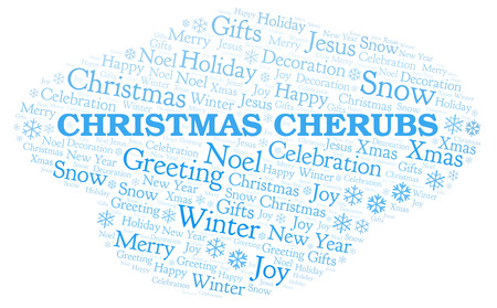 Christmas Cherubs word cloud. Wordcloud made with text only. Stock Photo
