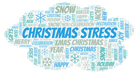 Christmas Stress word cloud. Wordcloud made with text only. Stock Photo