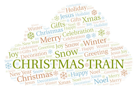 Christmas Train word cloud. Wordcloud made with text only. Stock Photo