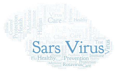 Sars Virus word cloud, made with text only Stock Photo