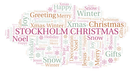 Stockholm Christmas word cloud. Wordcloud made with text only. Stock Photo
