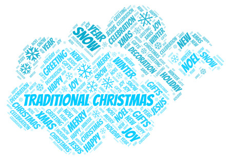 Traditional Christmas word cloud. Wordcloud made with text only.