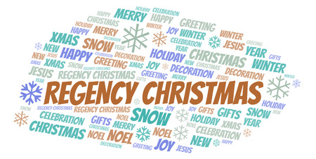 Regency Christmas word cloud. Wordcloud made with text only. Stock Photo
