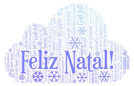 Feliz Natal word cloud - Merry Christmas on Portugal language. International Christmas concept.