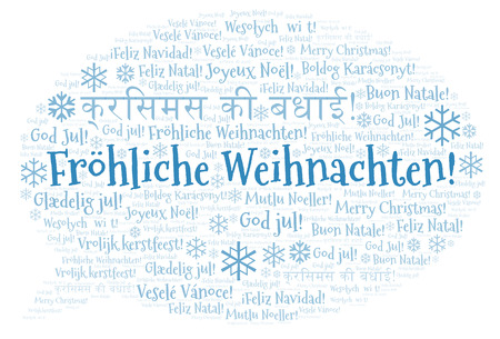 Frhliche Weihnachten word cloud - Merry Christmas on German language. International Christmas concept. Stock Photo