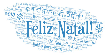 Feliz Natal word cloud - Merry Christmas on Portugal language. International Christmas concept.