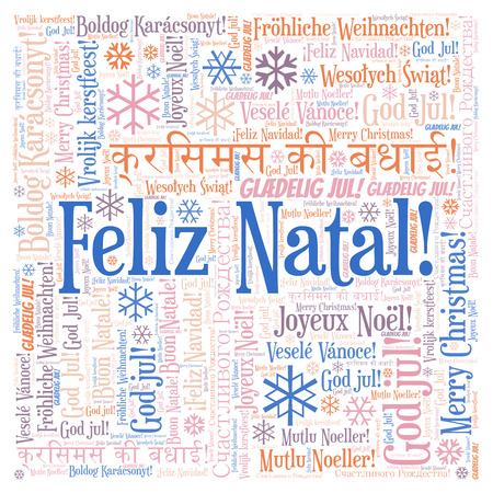 Feliz Natal word cloud - Merry Christmas on Portugal language. International Christmas concept. Imagens - 113156759