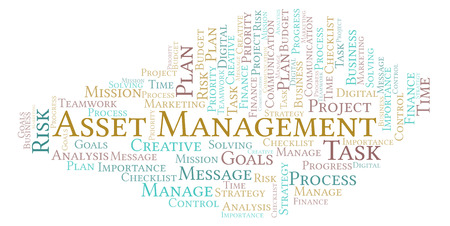 Asset Management word cloud, made with text only 스톡 콘텐츠