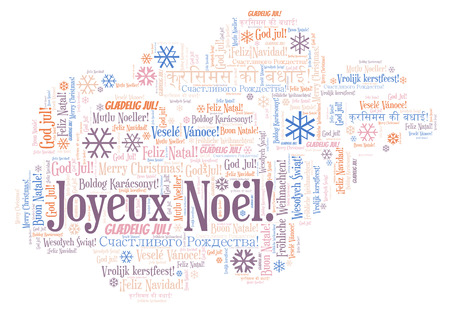 Joyeux Noel word cloud - Merry Christmas on French language. International Christmas concept. Imagens