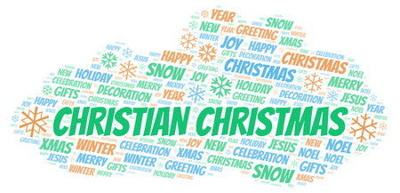 Christian Christmas word cloud. Wordcloud made with text only.