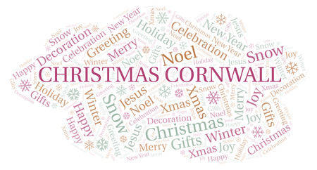 Christmas Cornwall word cloud. Wordcloud made with text only.