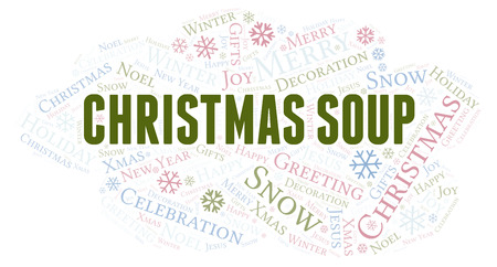 Christmas Soup word cloud. Wordcloud made with text only. Stockfoto