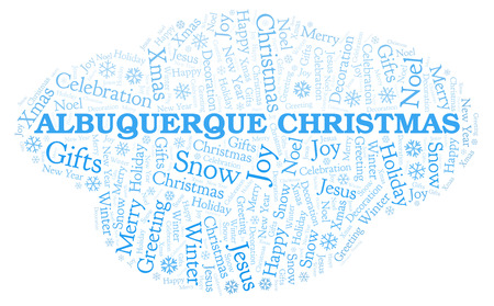 Albuquerque Christmas word cloud. Wordcloud made with text only.
