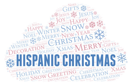 Hispanic Christmas word cloud. Wordcloud made with text only. Stock Photo