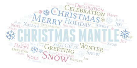 Christmas Mantle word cloud. Wordcloud made with text only.