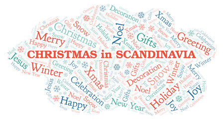 Christmas In Scandinavia word cloud. Wordcloud made with text only.