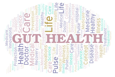 Gut Health word cloud. Wordcloud made with text only. Stockfoto