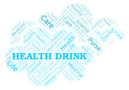 Health Drink word cloud. Wordcloud made with text only. Stock Photo