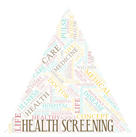 Health Screening word cloud. Wordcloud made with text only. Stock Photo