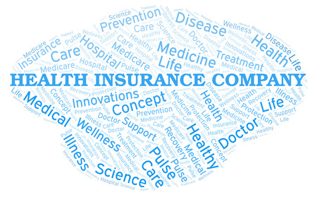 Health Insurance Company word cloud. Wordcloud made with text only. Stock Photo