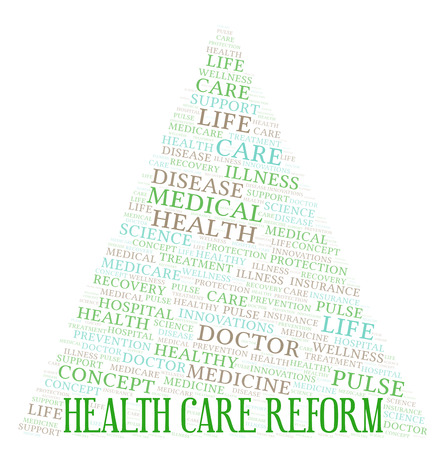 Health Care Reform word cloud. Wordcloud made with text only. Banco de Imagens