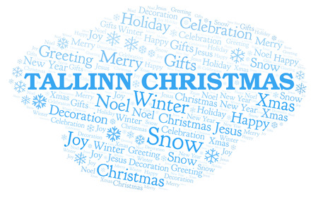 Tallinn Christmas word cloud. Wordcloud made with text only. Stock Photo