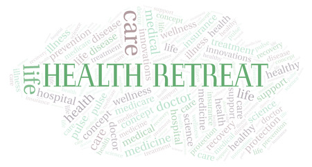 Health Retreat word cloud. Wordcloud made with text only. Imagens