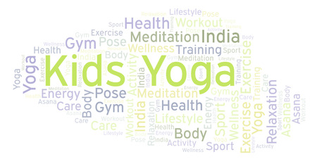 Kids Yoga word cloud. Wordcloud made with text only. Reklamní fotografie - 114073997