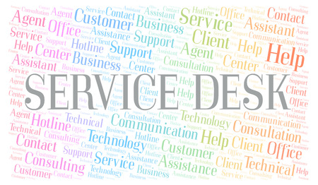 Service Desk word cloud. Wordcloud made with text only.