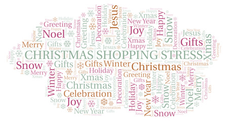 Christmas Shopping Stress word cloud. Wordcloud made with text only.