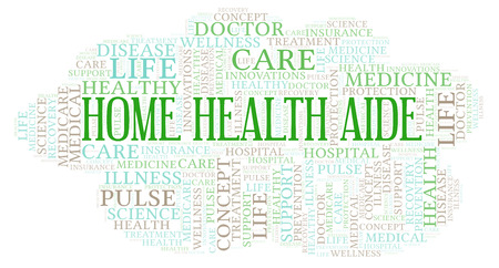 Home Health Aide word cloud. Wordcloud made with text only.
