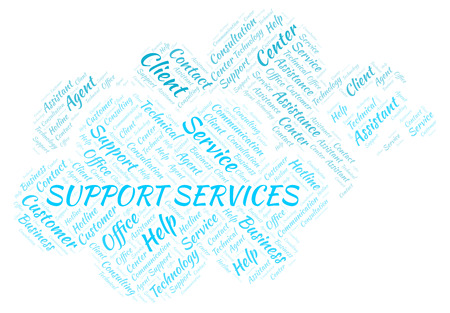 Support Services word cloud. Wordcloud made with text only.