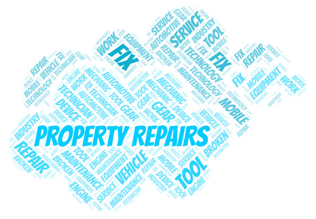 Property Repairs word cloud. Wordcloud made with text only. 스톡 콘텐츠