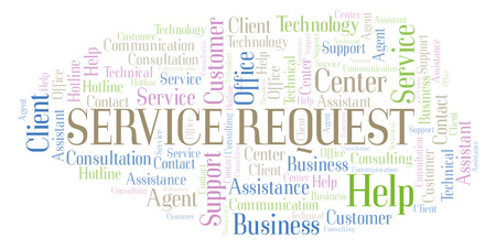 Service Request word cloud. Wordcloud made with text only.