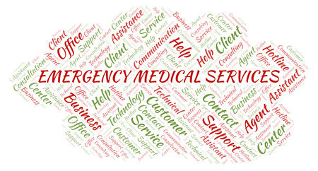 Emergency Medical Services word cloud. Wordcloud made with text only. Stock Photo