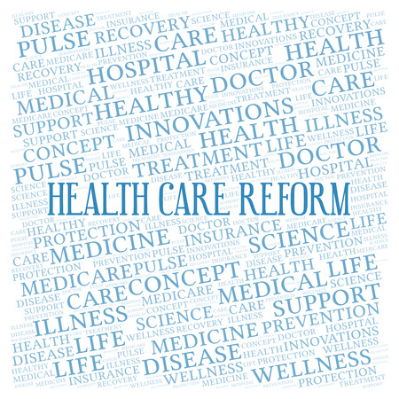 Health Care Reform word cloud. Wordcloud made with text only. Stock Photo