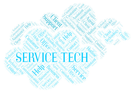 Service Tech word cloud. Wordcloud made with text only.
